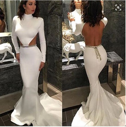 Wholesale Out Side Lights - High Neck Long Sleeves White Backelss Sexy Evening Dresses mermaid Sweep Train Cut Out Simple Long Prom Gowns Side Waist Open Formal Dresses