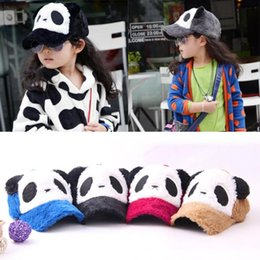 Wholesale Kids Panda Baseball Hat - Brand New New Unisex Kids Girls Boys Panda Pattern Baseball Hat Plush Flat Cap 2-6Y