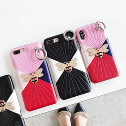 Wholesale Stripe Iphone - Metallic bee pattern stripe phone case for iPhoneX 8 8plus hard cover for iPhone 7 6 6S 7plus