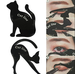 Wholesale Eye Lining - Charming Cat Line Eye Makeup Tool Eyeliner Stencils Template Shaper Model Beginners Efficient Eyeline Card Tools OOA3555