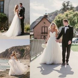 Wholesale Tulle Wedding Gowns Color Belt - 2016 Beach Wedding Dresses Bridal Gowns with Spaghetti Straps A Line Summer Wedding Gowns with Belt Lace Bodice Tulle Long Party Dress