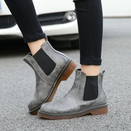 Wholesale Yellow Wedge Boots - Big size Eur34-43! 3 Colors Brand New PU Leather Women ankle Martin short boots motorcycle flat Slip-on Shoes Plus