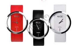 Wholesale Watch Transparent Ladies - Wholesale-10PCS LOT New Fashion Ladies' Watch Simple Transparent Dial Quartz Wrist watch with PU Leather Strap 3 Colors drop Shipping 3362