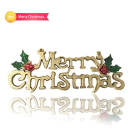 Wholesale Card Powder - 2018 New Shingle Golden Christmas Cards Merry Christmas English Letter With Golden powder Finished Xmas Decoration Product Code:95-1082