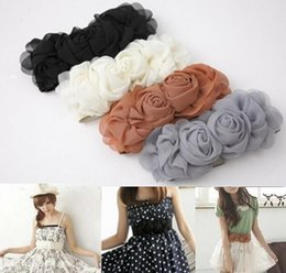 Wholesale Ladies Order Bow - 2015 New Women Lady Fashion Flower Elastic Stretch Waist Belt Wide Stretch Waistbands #5566 order<$18 no tracking