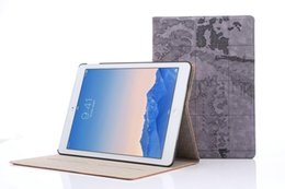 Wholesale Map Fold - For Apple iPad6 ipad Air 2 World Map Pattern PU Leather case Wallet Card Slot Case Cover 50PCS LOT