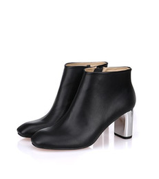 Wholesale Silver Glitter Chunky High Heels - SALE~B093 34 40 black GENUINE LEATHER SILVER high HEEL ANKLE short BOOTS luxury designer inspired ce