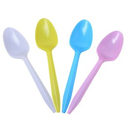 Tenedores de cuchillo de fiesta de plastico online-CALOFE 24 UNIDS Cuchillo Tenedor Cucharas de Plástico Disponsable Fiesta Vajilla Decoración de Cumpleaños Para Niños Adultos Torta de Helado de Alta Quaity