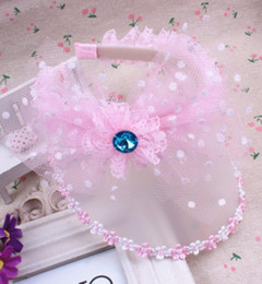 Wholesale Kids Rhinestone Hats - Baby Hats 2015 Summer Korean Girls Lace Bow Flower Rim Hair Accessories Hair Sticks Kids Rhinestone Meshy Tulle Sunbonnet Pink Rose I4243