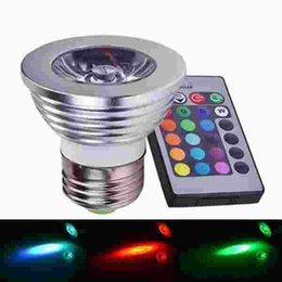 Wholesale 4w Rgb E27 Remote - 4W 9W E27 RGB LED Bulb 85-265V LED Spotlight Lamp 16 Color Change RGB Spot Light for Home Party Decoration With IR Remote 20pcs lot