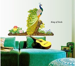 Wholesale Peacock Wall Sticker Decals - Beautiful peacock Wall Stickers Home Decor For living Kids Rooms Parlour sofa TV bedroom home decoration Decals poster stickers