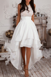 Wholesale Chiffon Bridal Skirt - Summer Beach High Low Wedding Dresses Jewel Neck Sleeveless Lace Top Tieres Chiffon Skirts A Line Bridal Gowns South Africa Wedding Gowns LA
