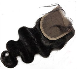 Wholesale Indian Bodywave Hair - 7A Grade Indian Human Hair Bodywave Lace Closure 4X4 Natural Color Free Part With Baby Hair 130%Free Shipping Top Closure