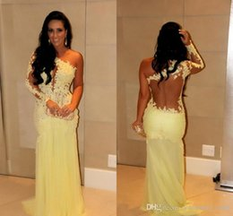 Wholesale Pictures Factory - 2015 Newest Prom Dresses Factory Promotion custom backless one shoulder long sleeve mermaid sexy lace designer celebrity Cheap party gowns