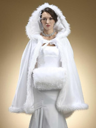 Wholesale White Hooded Wedding Dresses - Faux Fur Shawl with Muff Winter Bridal Cape Christmas Cloaks Jackets Hooded Perfect For Winter Wedding Bridal Wraps Abaya Wedding Dresses