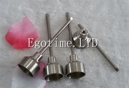Wholesale Pointed Nails - In Stock ! 2pcs MOQ Domeless Titanium Ti Nail 18mm Universal GR2 Titanium Nail Carb Cap with ball point dabber free shipping
