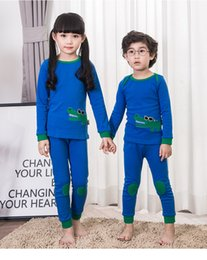 Wholesale Protecting Animals - Kids Underwear suits Boys girls cotton animal crocodile T-shirts+protected knees pants 2pcs comfortable sets Children pajamas outfits C2130