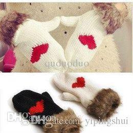 Wholesale Warm Love Glove - 2015 Hot Sale Love Heart Fur Gloves with Neck Strap Women Warm Knit Wool Mitten Color Black White 80368