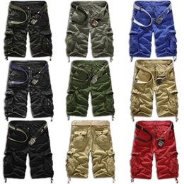 Wholesale Brown Overalls - Wholesale-Summer Men shorts Army Cargo Work Casual bermuda masculina Shorts Fashion Sports Overall Squad Match Trousers Plus size Short