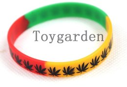 Wholesale Silicone Rubber Wristband Cuff Bracelet - New 20 pcs Mixed Color Silicone Rubber Bob Marley Maple Leaf bracelet Different Pattern Wristband Cuff Bracelet Jewelry