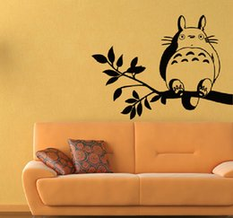Wholesale Self Sat - Onlinegame Anime Cute Totoro On Tree Branch Sitting Profile Home Decor Children's Present Christmas Birthday Gift Wall Sticker Decal