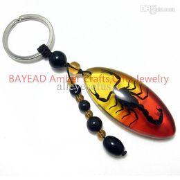 Wholesale Real Scorpion Keychain - Wholesale-Real Black Scorpion in Amber Red Resin Keychain 56*24.5*12mm Scorpion Keyring,Auto Ornament,Birthday Present,souvenir novelties