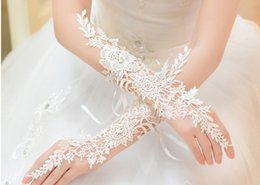 Wholesale Ivory Summer Bridal Gloves - High Quality Summer Beach Bridal Gloves Lace Beads Below Elbow Length Wedding Glove Bride Accessory Free Shipping Evening Prom Gloves QM