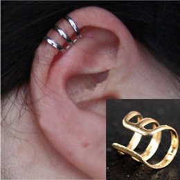 Wholesale Cheap Ear Piercing Earrings - 6pcs New Punk Rock Ear Clip Cuff Wrap Earrings No piercing-Clip on Silver Gold Bronze Women Men Party Jewelry Gift Cheap Free JE05030