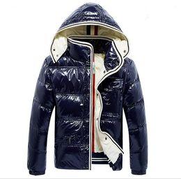 Wholesale Shiny Black Coats - France Luxury brand Men Casual shiny Down Jacket Down Coats Mens Outdoor Fur Collar Warm Feather dress Winter Coat outwear jacket