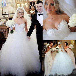 Mejores vestidos de novia simples online-2019 superventas vestidos de novia vestido de novia Vintage cariño piso-longitud apliques de encaje vestido de bola vestidos de novia