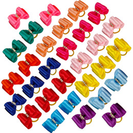 Wholesale Hair Rubber Small - 100pcs lot Wholesale Handemade Rhinestone Candy Colors Pet Cat Dog Hair Bows Grooming Accessories Puppy Rubber Band