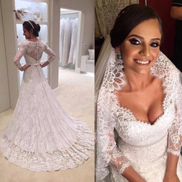 Wholesale Close Button Image - Vintage lace plus size Three quarter sleeves wedding dresses 2017 Sexy Sweetheart buttons closed back wedding gown gelinlik