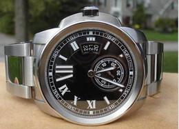 Wholesale Gents Bracelets - New box Men's Business Gents Men's Watch Full Steel Bracelet Automatic Mens Calibre de Transparent Back Date Men Watches