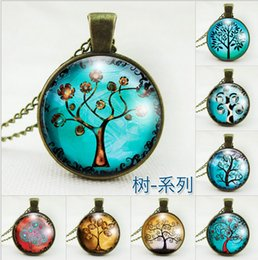 Wholesale Time Glass Necklace - Bronze Wish Tree Photo Glass cabochons Pendant Necklace Locket Chains Jewelry Christmas Gift Sweater time necklace NE171