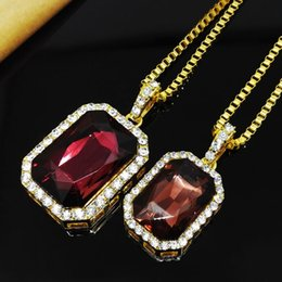 Wholesale vintage hip hop jewelry - Vintage Mens Hip Hop Chain Fashion Jewelry Big Gemstone Rhinestone Pendant Necklaces Gold Plated Hiphop Zodiac Jewelry Men Chain Necklace