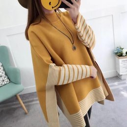 Wholesale poncho knitwear - New Autumn Winter Women's Poncho Sweater Lady's Knitted Cloak Batwing Sleeve Pulovers Knitwear Sweaters C3204