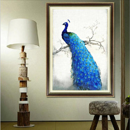Wholesale Embroidery Stitching Tool - diy 3d 5d round mosaic diamond embroidery cross-stitch picture of crystals decorative painting rhinestone animal blue peacock