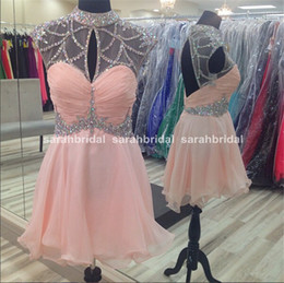 Wholesale Homecoming Dresses For Young Girls - 2016 Spring Graduation Dresses For 8th Grade Homecoming High School Young Girls Sale Cheap Pink Chiffon Rhinestone Tulle Prom Gown Under 100