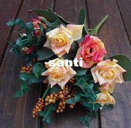 Wholesale wedding oil paintings - Fashion Hot Elegant Oil Painting Style Artificial Rose Silk Flowers 10 Flower Head Floral Wedding Garden Decor DIY Decoration