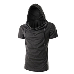 Wholesale Mens Short Sleeve Hoodies - Tops tees Mens Longline Hoodies Men Fleece Solid shirts Fashion Tall hoodie hip hop side zipper streetwear Extra Long Hiphop