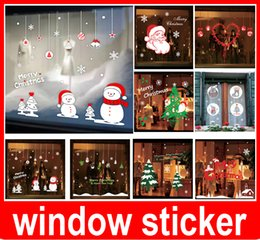 Wholesale Tree Window Art Decals - Christmas tree happy new year vinly PVC shop window sticker DIY art drawing house room wall quote decal decoration