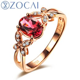 Wholesale Red Tourmaline Rose Gold Ring - Wholesale-ZOCAI ZODIAC GEM FIRE SIGNS BUTTERFLY CONCERTO 0.77CT RUBELLITE RED TOURMALINE DIAMOND RING OVAL CUT 18K ROSE GOLD