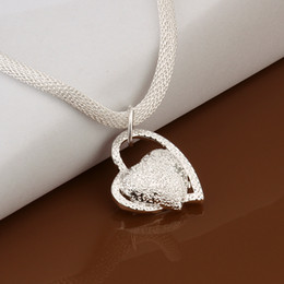 Wholesale Low Price Heart Necklaces - Lowest Price 925 Sterling Silver Pendant Necklace Fashion Hollow Style 18Inch Chain Fit Heart Pendant Necklace Woman Jewelry 10 pcs Sale
