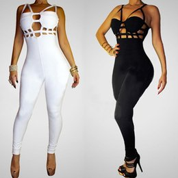 Wholesale Lady S Boots - 2016 New Fashion Sexy Jumpsuit Women Brand Camisole Overall Patchwork Boot Cut Overalls Lady Jumpsuits Club Bodysuit