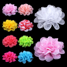 """Wholesale Shabby Mesh - 120pcs  Lot 4 .1 """"17colors Shabby Lace Mesh Chiffon Flower For Kids Girls Hair Accessories Artificial Fabric Flowers For Headbands"""
