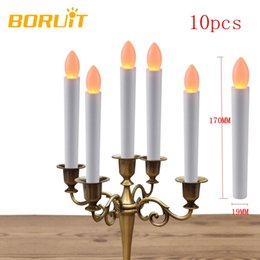 Wholesale White Wedding Pillar Candles - 10pcs Warm White Electronic Flameless Led Candles Light Birthday Wedding Fixtures New Year Christmas Tree Decoration For Home