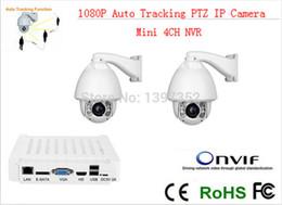 Wholesale Mini Ptz Dome Ip Camera - CCTV IP Camera 2pcs +mini NVR IR 150m Auto Tracking ptz High Speed Dome PTZ Camera ip 20x zoom mini nvr 4ch CCTV Security kit
