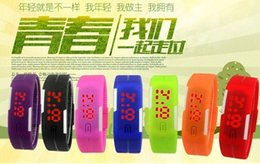 Wholesale Children Candy Bracelet Watch - 2015 Sports rectangle LED Digital Display touch screen watches Rubber belt silicone bracelets Wrist watches candy children Unisex Geneva