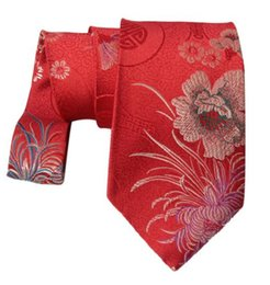 Wholesale Mens High Quality Neck Ties - Happy Chrysanthemum Luxury Ties New Designs High Quality Natural Mulberry Silk Brocade Mens standard Fashion Neckties For Wedding Party