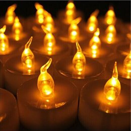 Wholesale Decorative Wax Candles - Glass Candle Holder LED Light Flickering LED Flameless Wax Mood Candles Garden Xmas Wedding Decoration Romantic Valentine Party Supplies